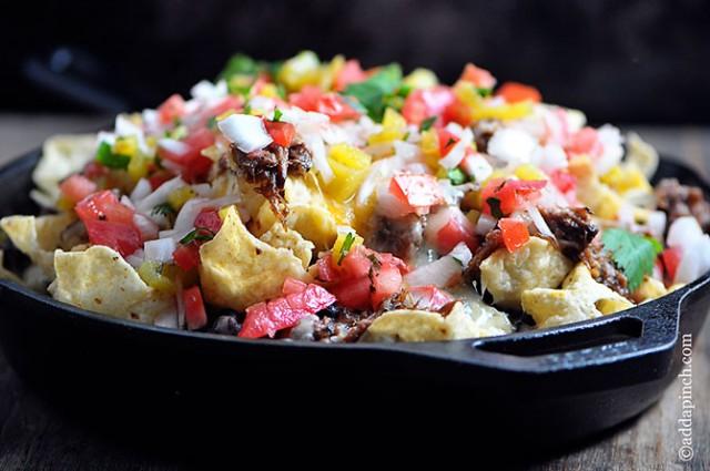 Shredded Beef Nachos Recipe | ©addapinch.com