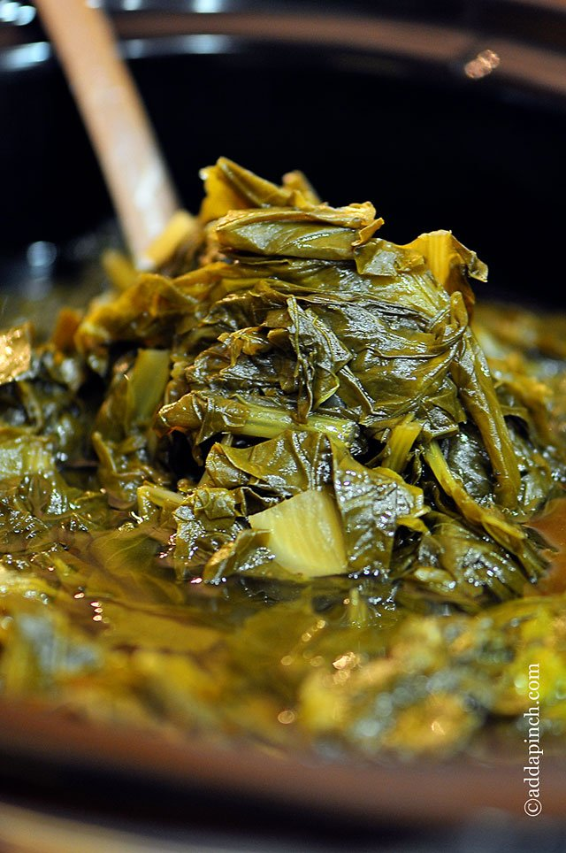 Slow Cooker Turnip Greens | ©addapinch.com