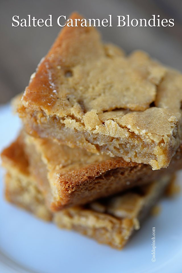 Salted Caramel Blondies | ©addapinch.com