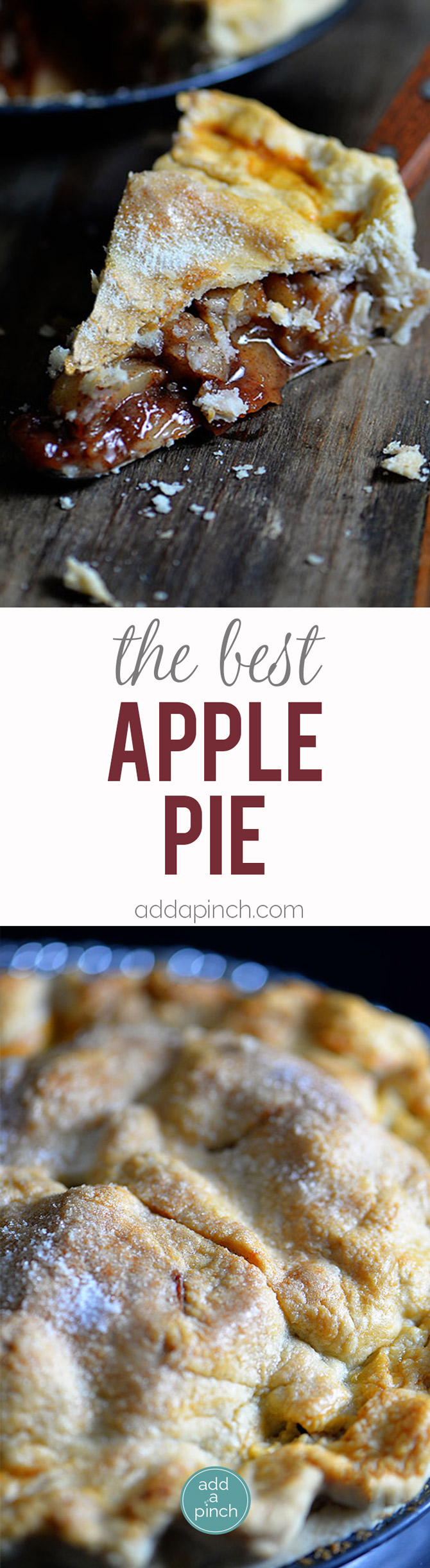 Apple Pie Recipe - Apple Pie is a simple, classic and delicious pie recipe. This apple pie recipe is a family favorite recipe used for generations. // addapinch.com
