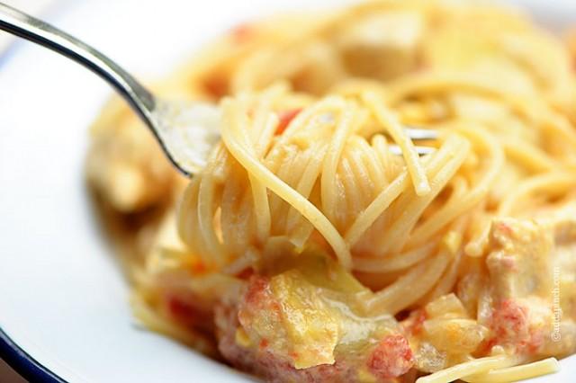 Chicken Artichoke Pasta Recipe | ©addapinch.com