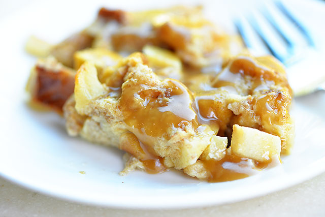 Cinnamon Apple Baked French Toast with Caramel Sauce | ©addapinch.com