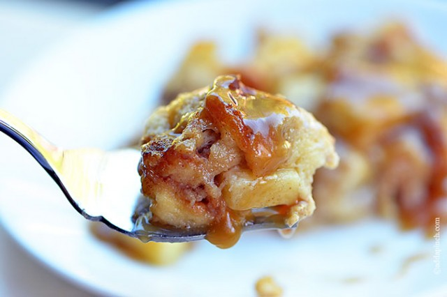 Cinnamon Apple Baked French Toast with Caramel Sauce   ©addapinch.com