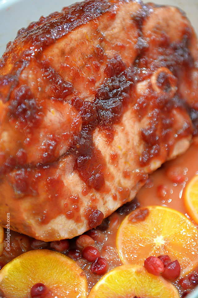 Cranberry Orange Glazed Ham Recipe | ©addapinch.com