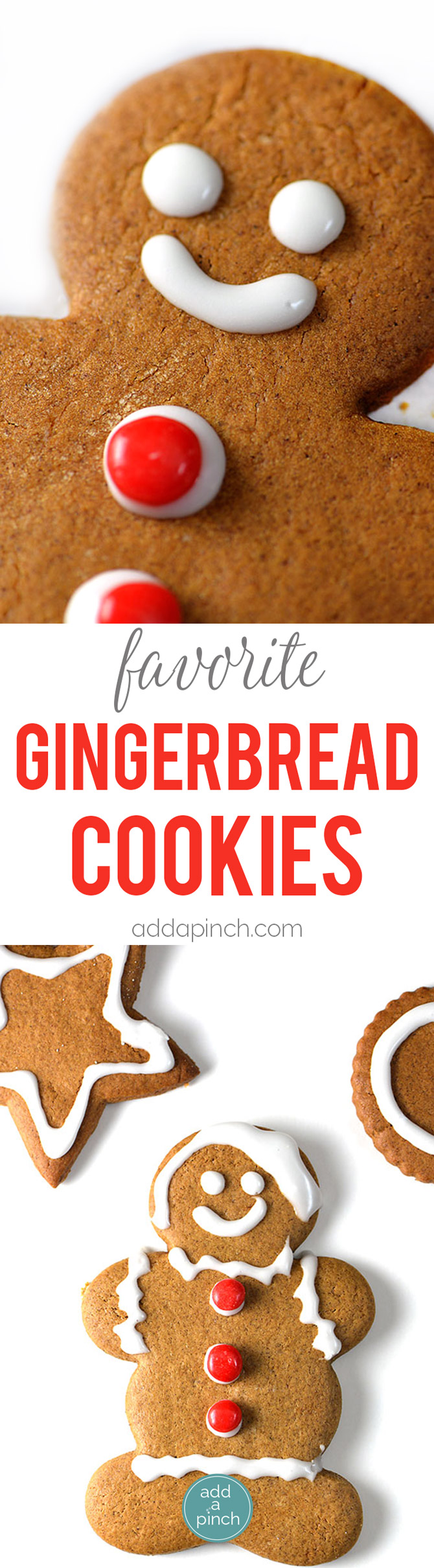 Gingerbread Cookies - Gingerbread cookies are a favorite Christmas cookie recipe and this gingerbread will become a favorite with a few special additions. // addapinch.com