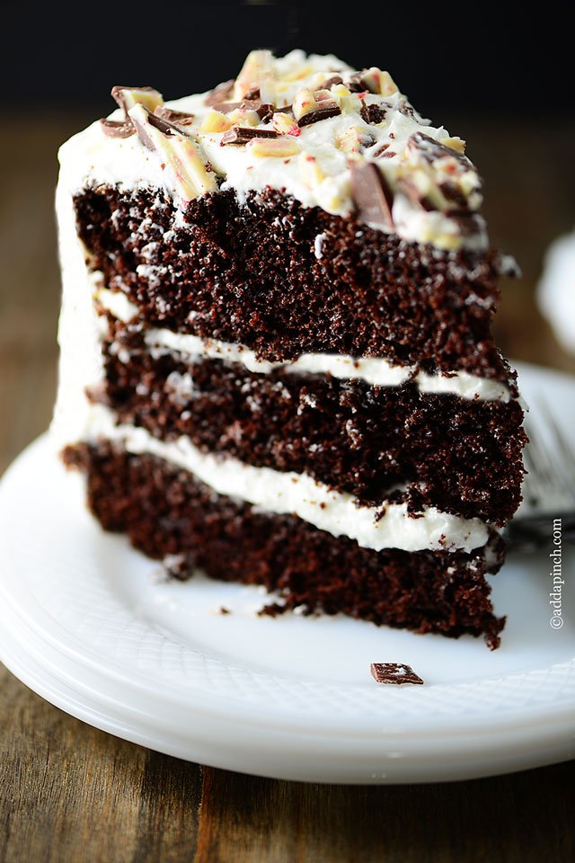 Peppermint Chocolate Cake | ©addapinch.com