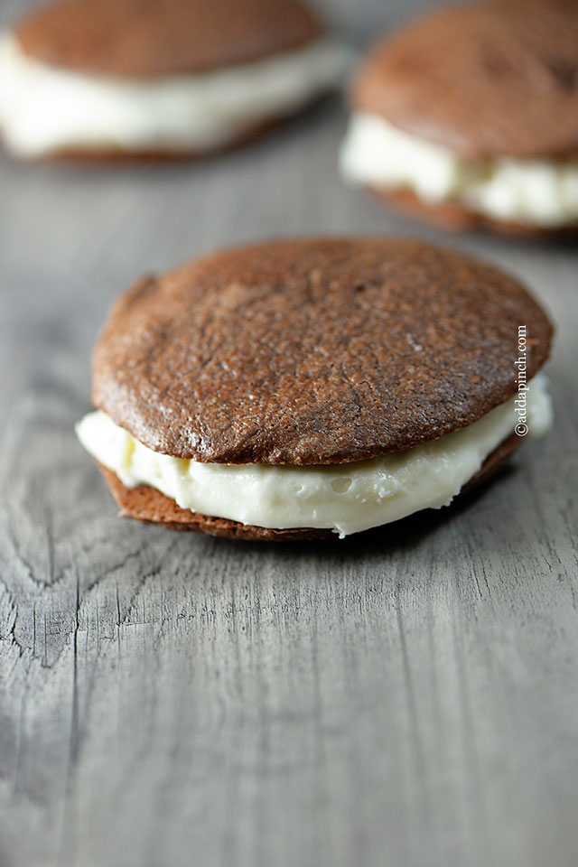 Peppermint Cream Chocolate Cookie Sandwiches | ©addapinch.com