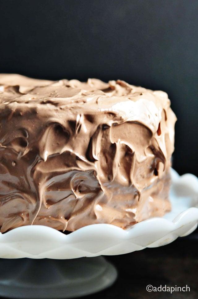 Chocolate Velvet Cake Recipe | ©addapinch.com