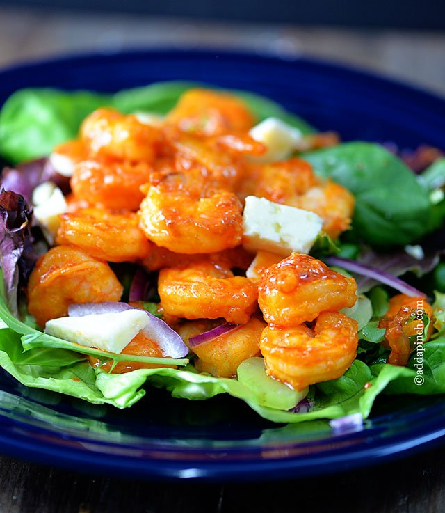 Buffalo Shrimp Salad Recipe | ©addapinch.com