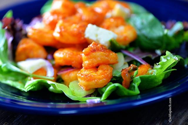 Buffalo Shrimp Salad Recipe | ©addapinch.com