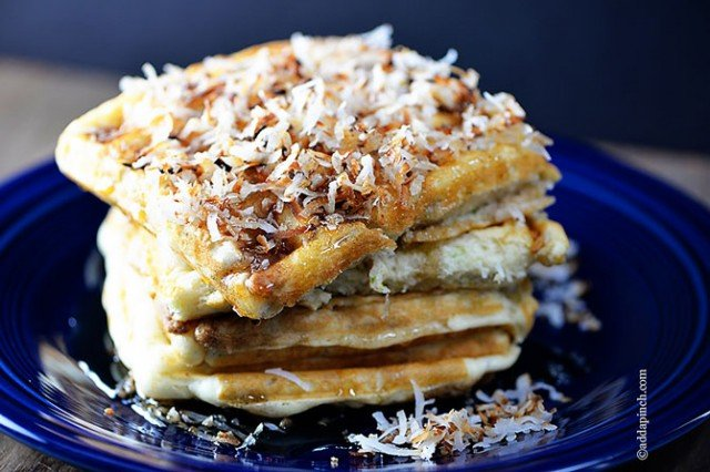 Coconut Lime Waffles Recipe | ©addapinch.com