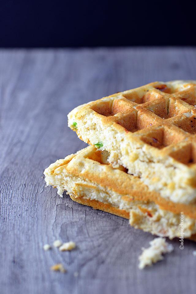 Cornbread Waffles Recipe | ©addapinch.com