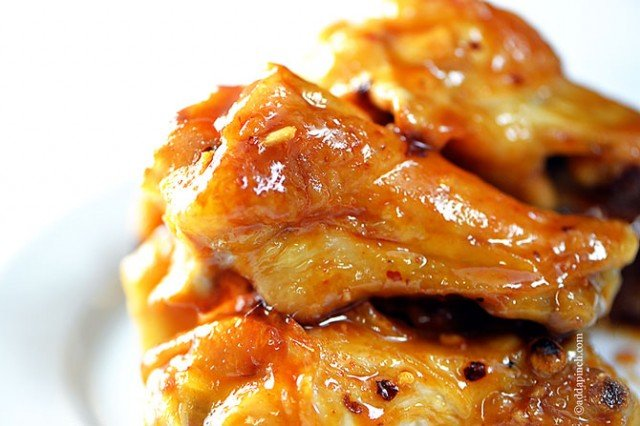 Maple Glazed Chicken Wings Recipe | ©addapinch.com