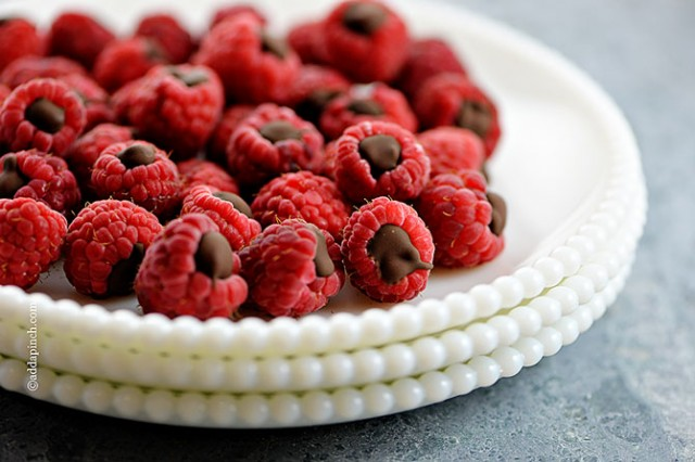 Chocolate Filled Raspberries | ©addapinch.com