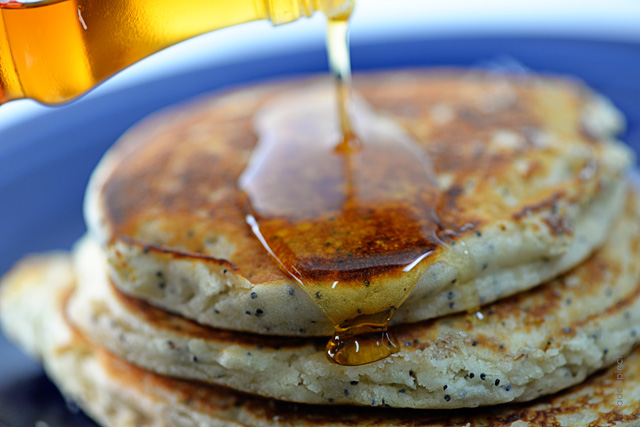 Lemon Poppyseed Pancakes Recipe | ©addapinch.com