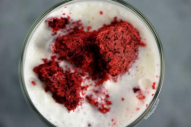 Red Velvet Cake Milkshake | ©addapinch.com
