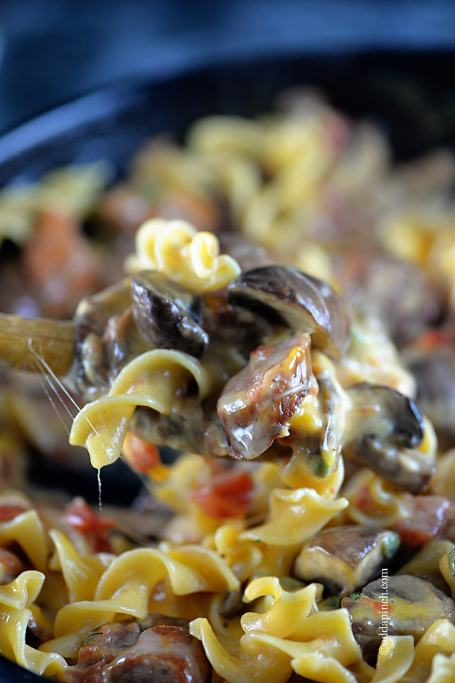 Cheesy Mushroom Sausage Pasta Recipe | ©addapinch.com