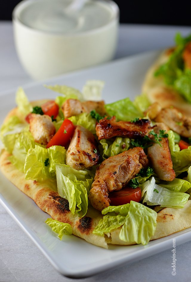 Chicken Souvlaki Recipe | ©addapinch.com