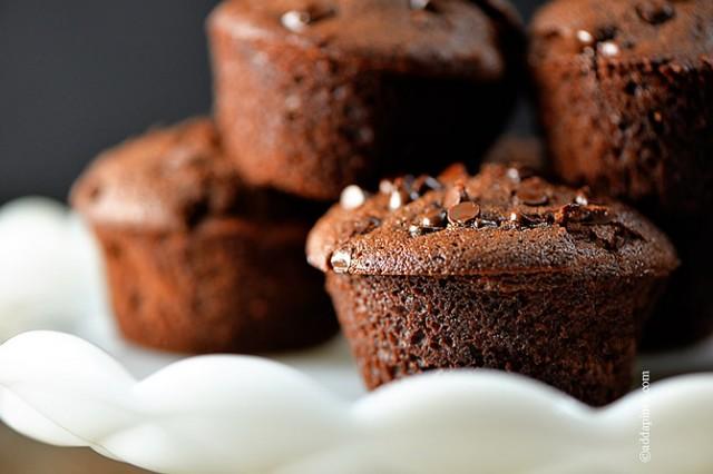 Chocolate Chocolate Chip Muffins Recipe | ©addapinch.com