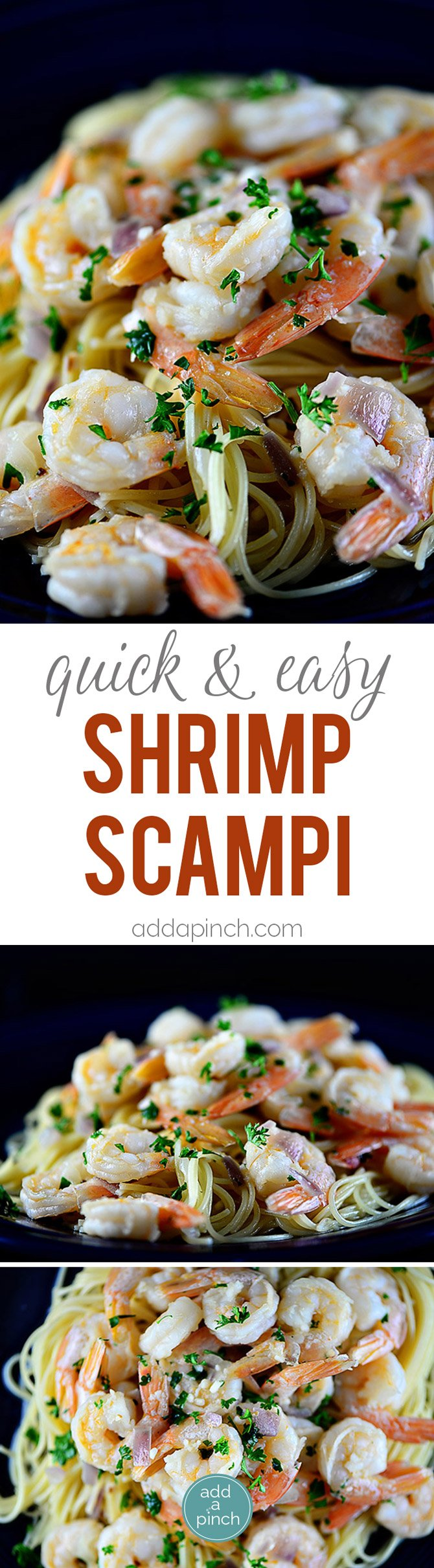 Shrimp scampi is easy and elegant, perfect for entertaining. Made of shrimp sautéed in butter and olive oil, garlic, and gently tossed with red onion and parsley, it is a classic. // addapinch.com