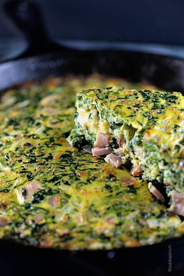 Ham and Spinach Frittata | ©addapinch.com
