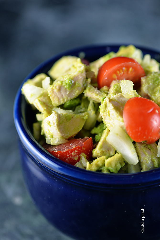 Avocado Chicken Salad Recipe from addapinch.com