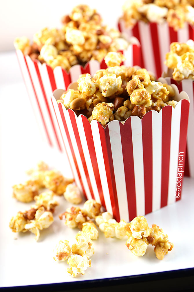 Homemade Cracker Jacks Popcorn Recipe from addapinch.com
