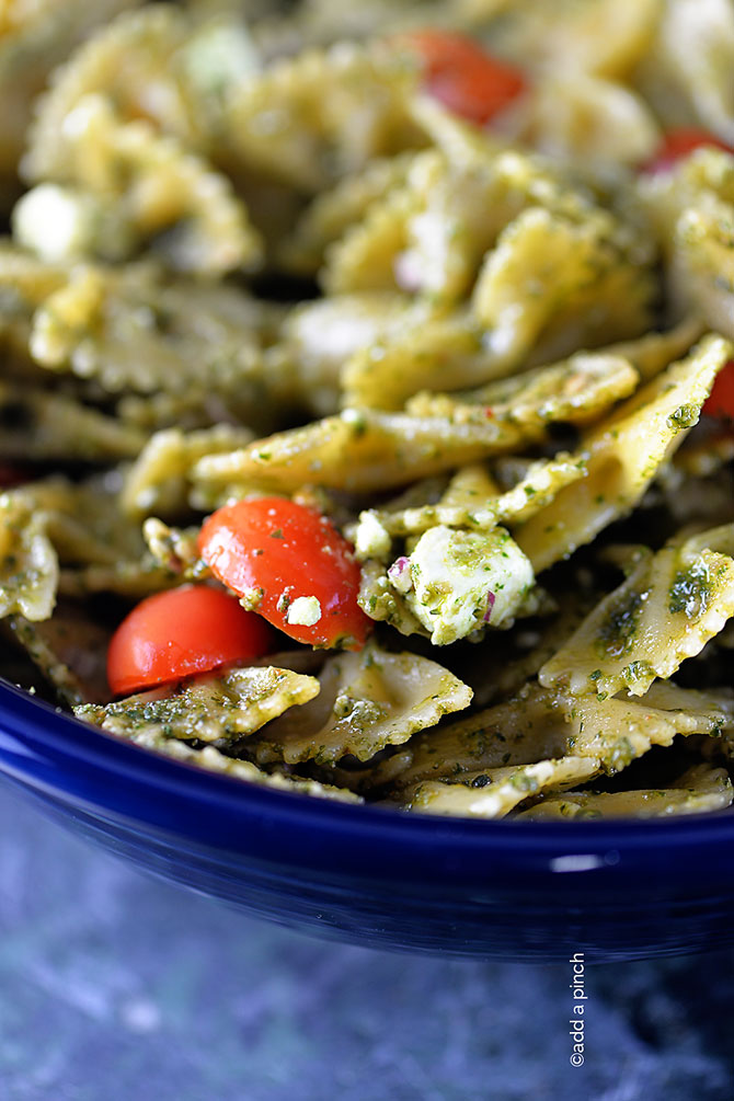 Pesto Pasta Salad Recipe from addapinch.com