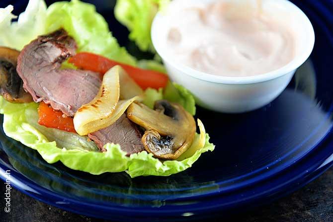 Steak Fajita Lettuce Wraps Recipe from addapinch.com