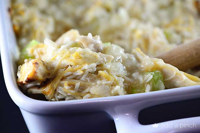 Chicken and Rice Casserole Recipe from addapinch.com
