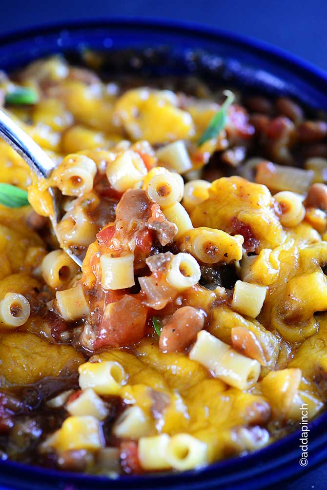 Chili Pasta Skillet Recipe from addapinch.com