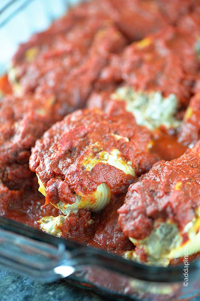 Three Cheese-Stuffed Shells With Meaty Tomato Sauce Recipes ...