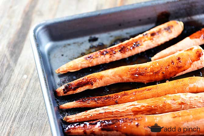 Balsamic Roasted Carrots Recipe from addapinch.com