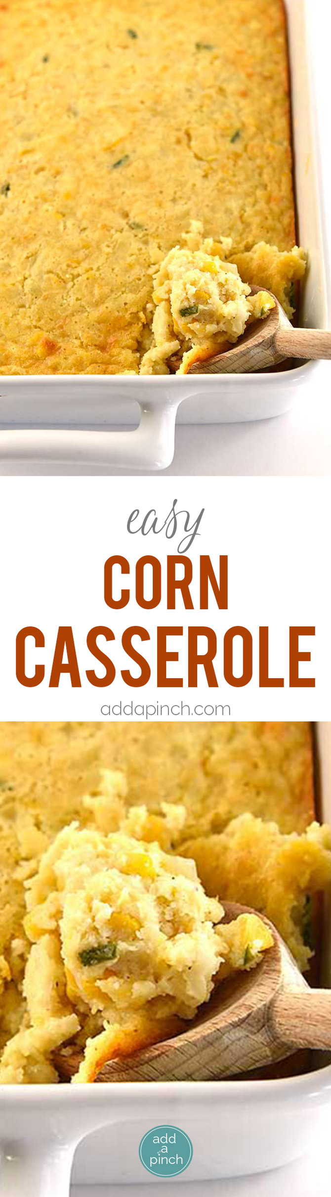 Corn Casserole Recipe - Corn casserole makes a comforting classic casserole! Made of creamed and whole corn, this corn casserole comes together quickly and makes a favorite side dish! // addapinch.com