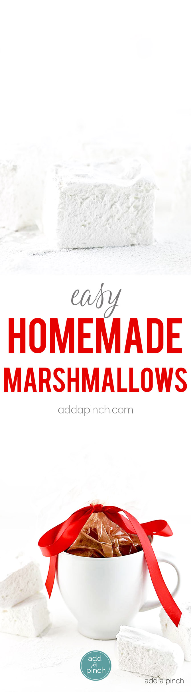 Homemade Marshmallow Recipe - This marshmallow recipe includes tips for easy homemade marshmallows that are fluffy and delicious every time. // addapinch.com