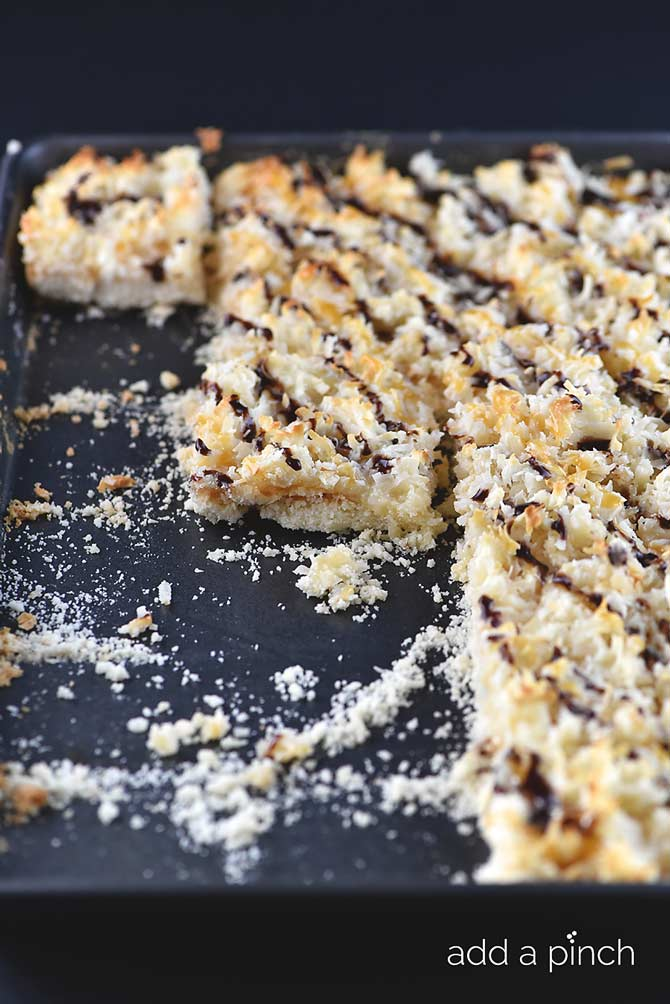 Coconut Macaroons Bars Recipe from addapinch.com