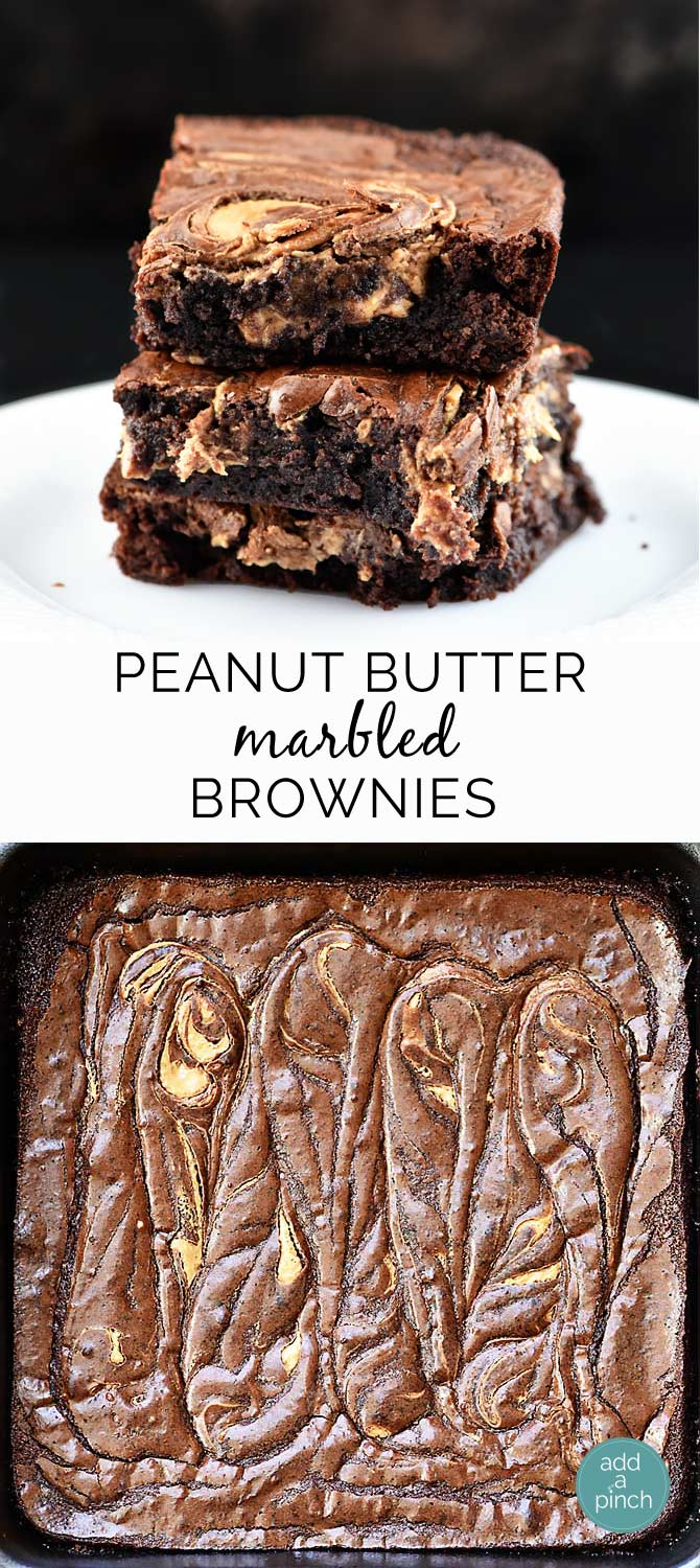 Peanut Butter Marbled Brownies from addapinch.com