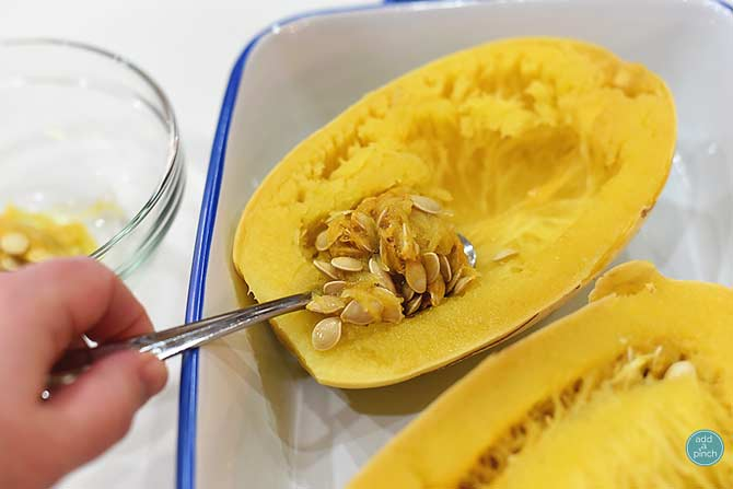 How to cook spaghetti squash recipe add a pinch for Things to do with spaghetti squash