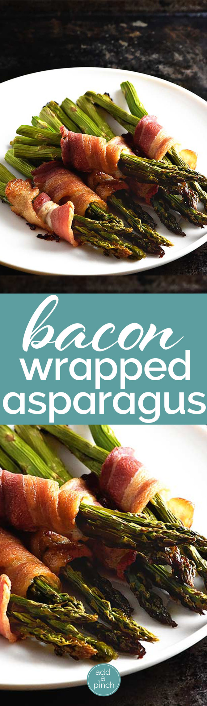Bacon wrapped asparagus makes a delicious side dish. On the table in less than 30 minutes, this makes an easy and elegant asparagus recipe perfect for entertaining. // addapinch.com