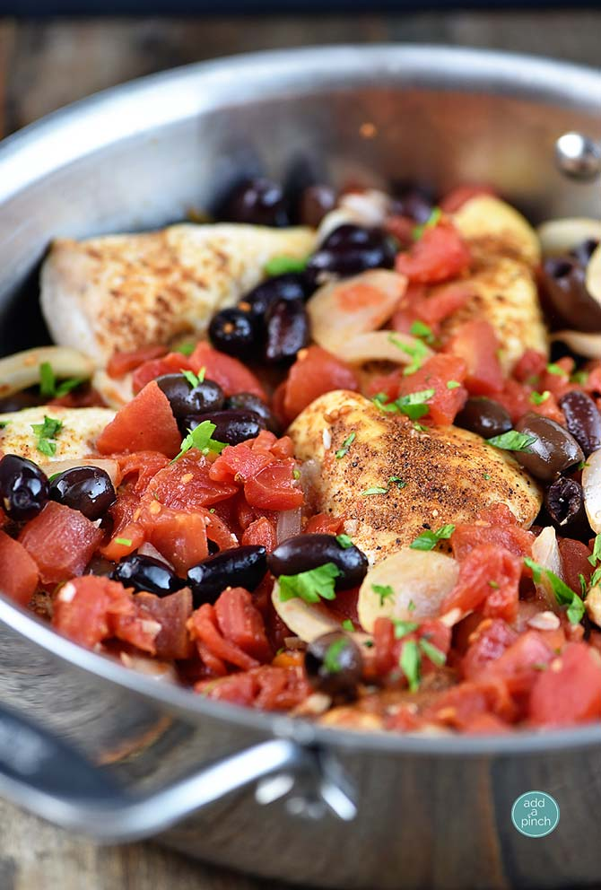 Roasted Chicken with Tomatoes and Olives Recipe from addapinch.com