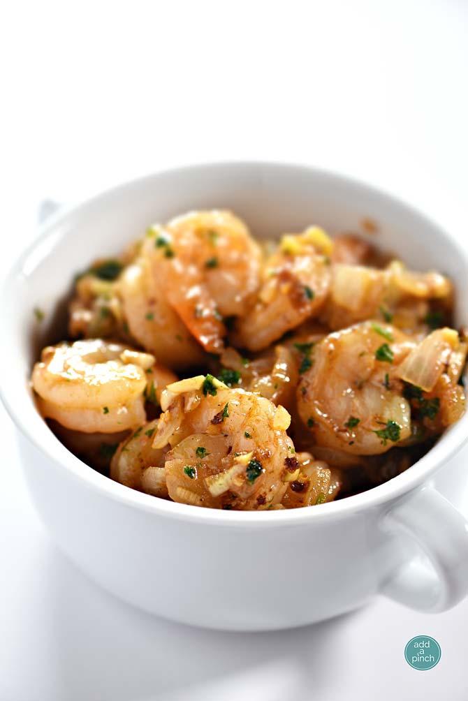 Garlic Shrimp Recipe from addapinch.com