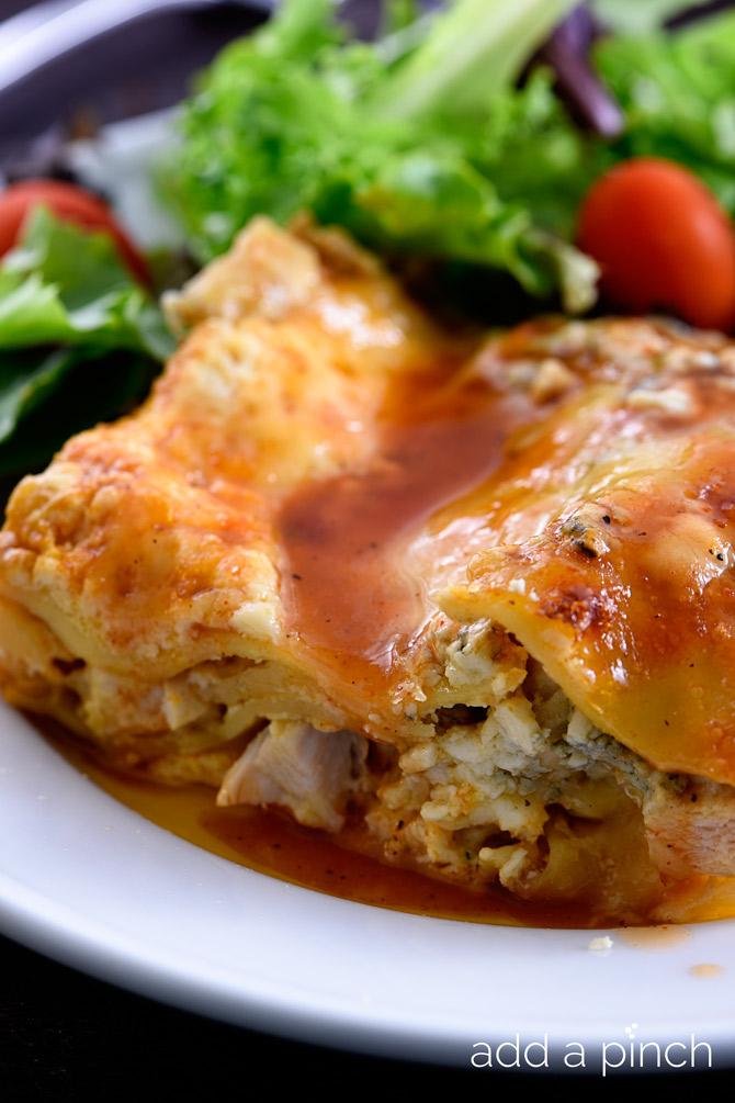 Buffalo Chicken Lasagna combines two favorite dishes in one - buffalo chicken and lasagna! // addapinch.com