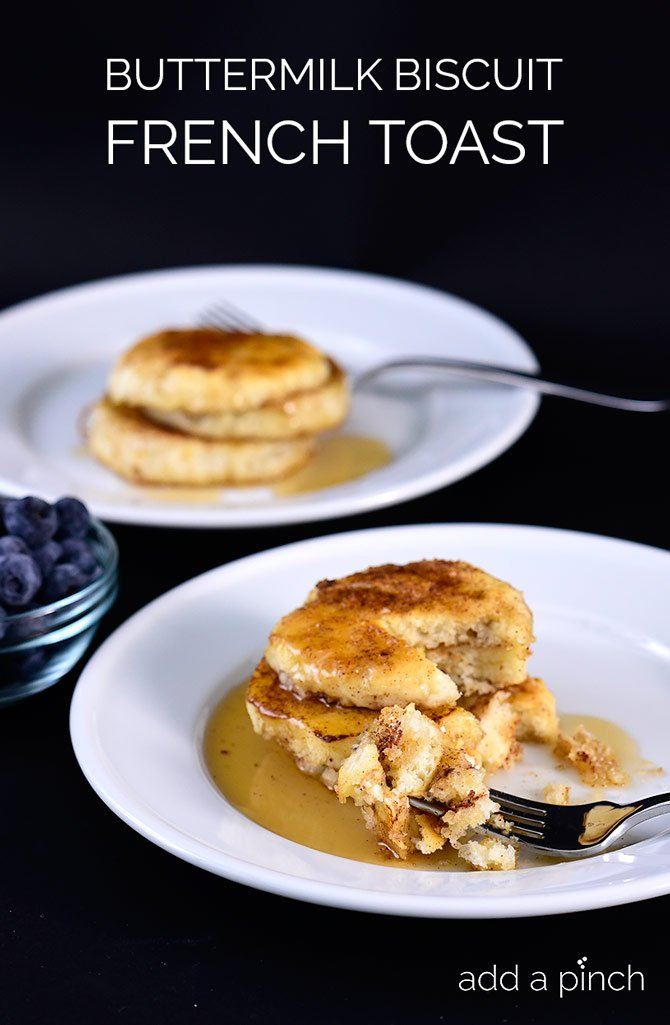 Buttermilk Biscuit French Toast - Two breakfast favorites come together to make an out of this world meal! // addapinch.com