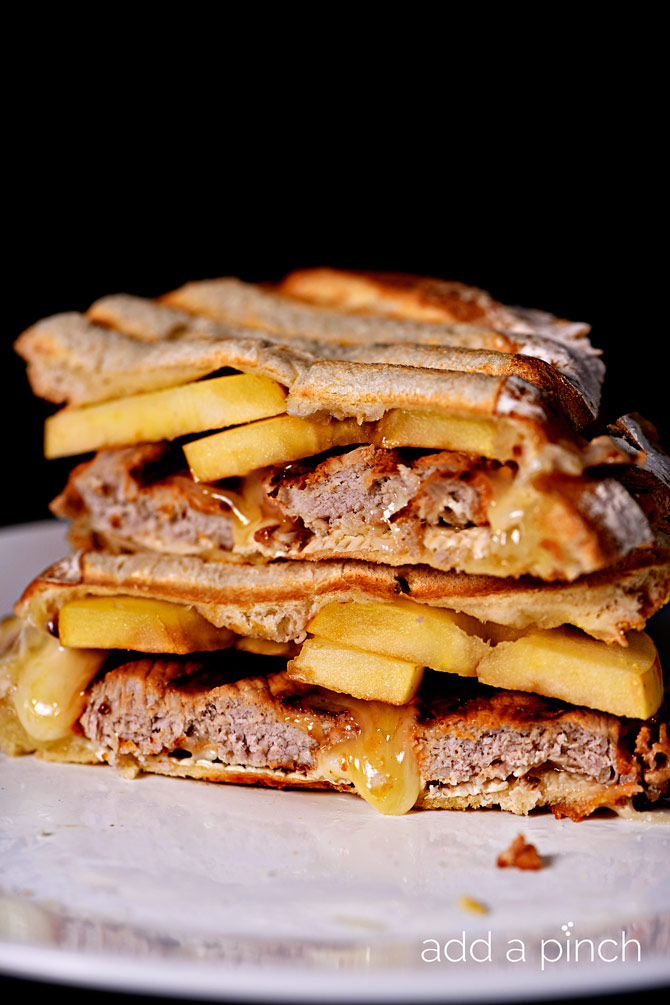 Pork Loin Apple Brie Panini makes a quick and delicious meal! // addapinch.com