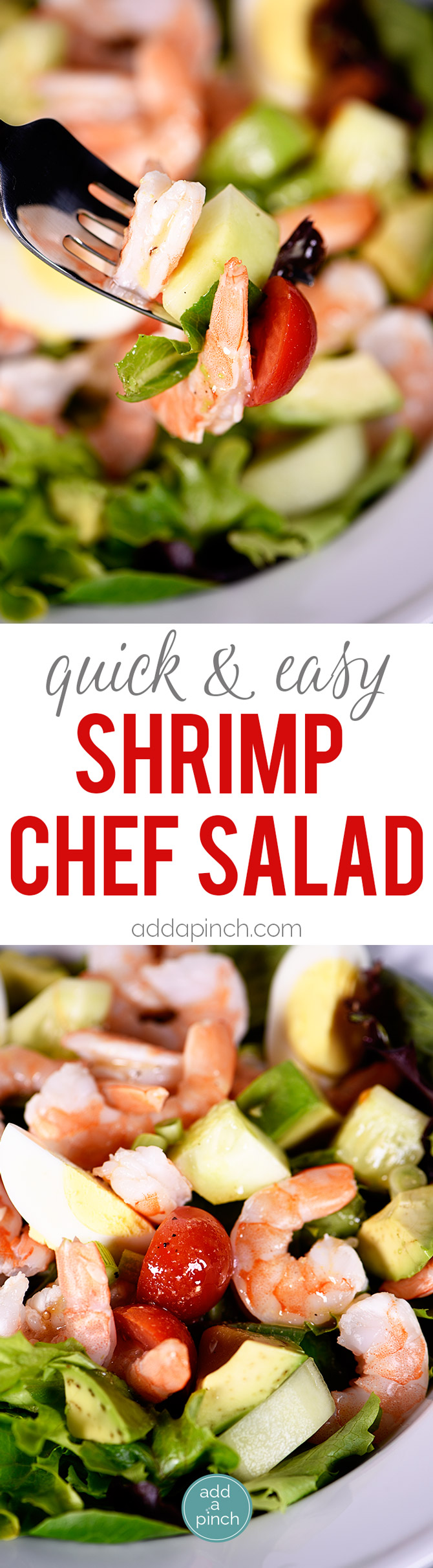 Shrimp Chef Salad Recipe comes together quickly for an easy meal for lunch or supper! Packed full of flavor, this salad recipe is one I turn to time and again. // addapinch.com