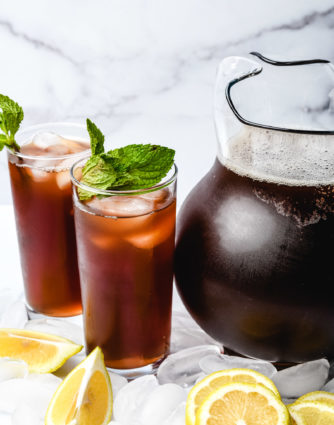 This Southern Sweet Tea recipe is smooth, sweet, and delicious! It includes tried-and-true tips for how to make sweet tea that everyone loves! // addapinch.com