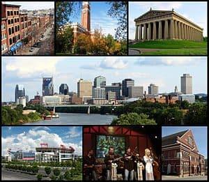 Collage of Nashville landmarks. Top row: 2nd A...