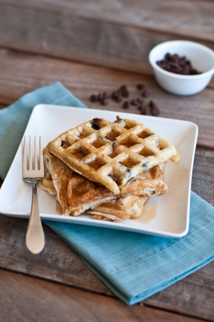 Chocolate Chip Waffles from addapinch.com
