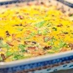Breakfast Casserole with Spinach, Bacon, and Mushrooms