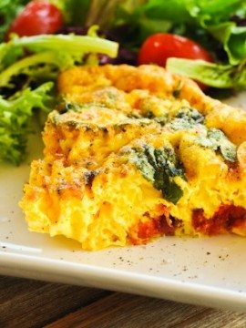 Crustless Quiche with Sun-dried Tomatoes and Spinach